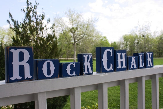 CUSTOM LETTER BLOCKS - Rock Chalk ku - School - College Football Jayhawk - University of Kansas - Personalized Name - Gift