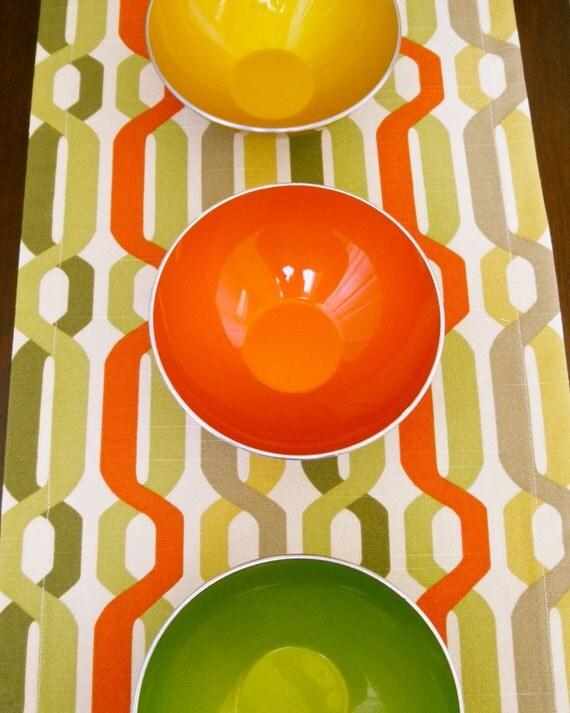 Dining Table Runner, Cloth Table Runner,  Table Runner, Green, Orange, Gold, 60 Inches