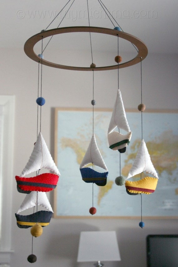 Felted boat mobiles, Etsy: MiChiMaLLC