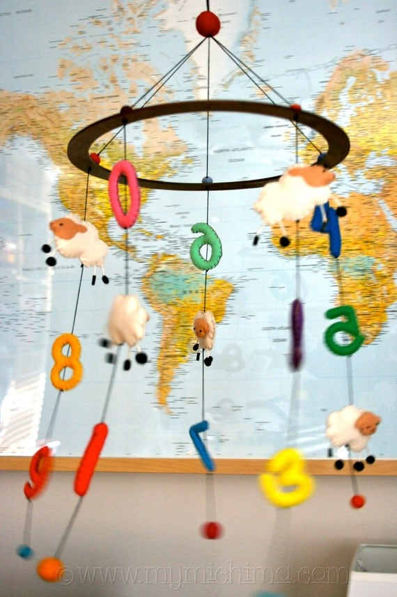 Counting Sheep - Decorative Hanging Mobile - Stuffed Felt Animals and Numbers