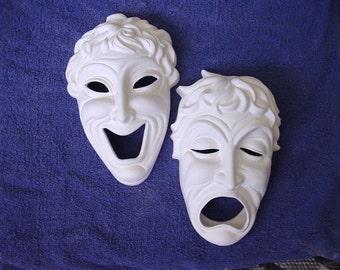 Drama or Happy and Sad Mask Ready to Paint Ceramics Poured by CrazyOldLadyJC