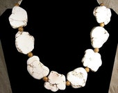 White Turquoise Slice Necklace. Wood Grain Picture Jasper Stone. Howlite Natural Stone. Statement Necklace. Huge Stones