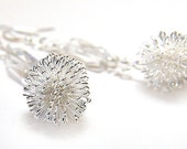 New Years Eve Earrings. Wire Wrapped Fireworks. Clear Crystal Sterling Silver. Cool as Ice. Perfect for Wedding. Modern Bride. Last Pair