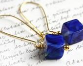 Gold Cobalt Blue Lampwork Glass Cube Earrings. Modern Minimalist Earrings. Long Dangle. Only one last pair. TAGT TEAM