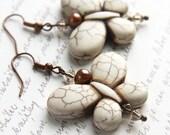 White Turquoise Earrings, Butterfly Earrings, Freshwater Pearl Earrings, Crystal Earrings, Nature Earrings, Gift for woman, Copper Earrings