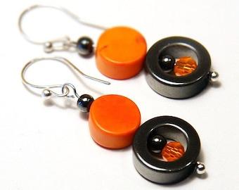 Geometric Earrings, Orange Howlite Turquoise Beads, Gift for her Industrial Metallic Gray Hematite Stone Beads, Minimalist Modern Earrings