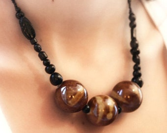 Large Ceramic Ball Necklace in Chocolate brown with Black Free-form Shape Glass Beads - statement necklace