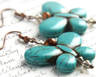 4th July Butterfly Earrings Turquoise Earrings December Birthstone Earrings Freshwater Pearl Earrings Crystal Earrings Copper Earrings