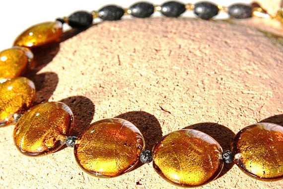 Stunning BIG Statement Necklace. Silver Leaf Murano Glass GOLD Discs. Back Lava Stone Beads