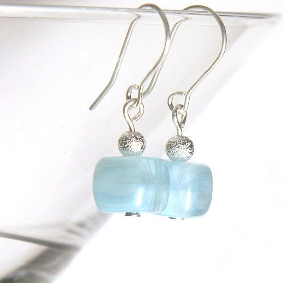 Only One Last Pair Left. Light Blue Lampwork Glass Earrings. Sterling Silver. Frozen Blue Ice. Winter Fashion. tagt team