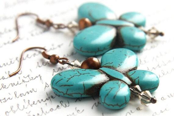 Butterfly Earrings, Turquoise Earrings, December Birthstone Earrings, Freshwater Pearl Earrings, Crystal Earrings, Copper Earrings Teal Blue