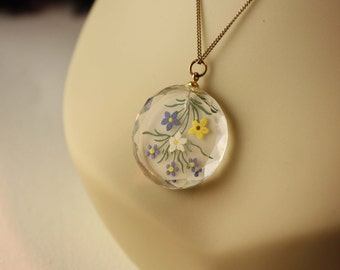 Detailed Hand Painted Crystal Pendant