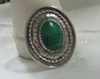 Handmade Vintage Mexican Sterling Malachite Pendant