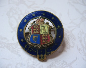 Antique Great Britain Crest Enameled Pin 1900's