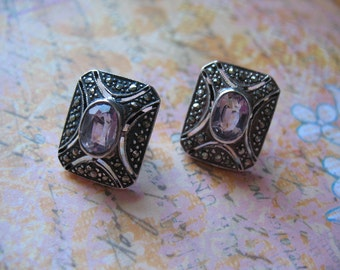 JUST REDUCED Victorian Style Amethyst Marcasite Sterling Silver Earrings