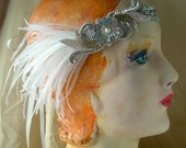 elsie-  flapper headband costume with silver sequined flower and white feathers angled up- made to order