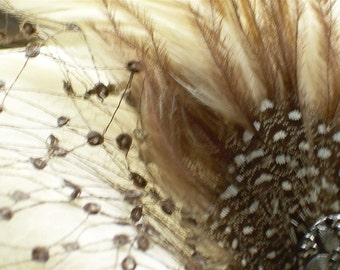 brown and cream feather fascinator hair clip with vintage rayon veiling