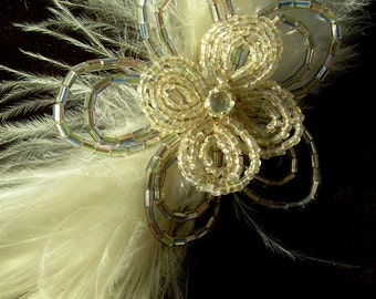ice blossom-  antique beaded flower and vintage feather fascinator