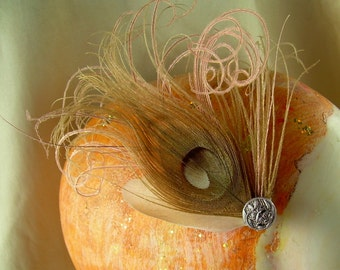 antique rose - pink and brown feather fascinator with antique button and cruelty free feathers