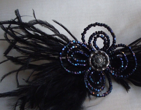 brigitte-  french beaded black flower and feather fascinator