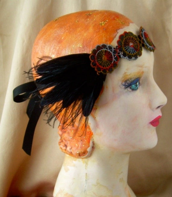 20's headpiece flapper headband bohemian headpiece of vintage feathers and silk 1920's 1930's black red edwardian headpiece- charlotte