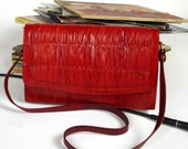 Vintage Red Eel Skin Purse with RUCHING