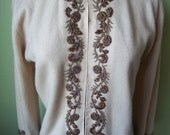 Vintage 1950's-60's CREAM Doris Day style GOLD BEADED Cardigan size Medium