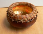 Miniature pine needle gourd basket in brown and metallic gold leaf