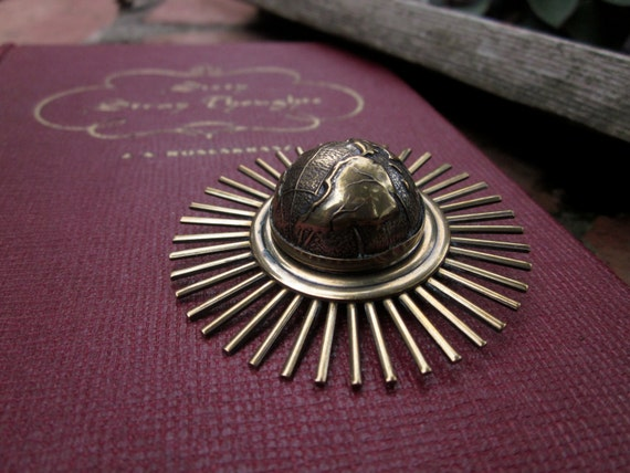 Jan Michaels Globe Star Burst Sun Brooch Pin