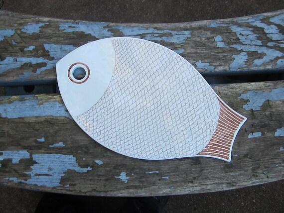 Midcentury Ceramic Serving Platter Fish Serving Plate Serving Dish Trivet Arabia Made in Finland 1960 60s Ceramics