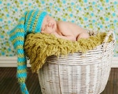 Newborn Adorable Turquoise and Sage Green VERY soft Stocking Hat