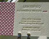 100 Custom Letterpress Business / Calling Cards - 2 COLOURS, 1 SIDE