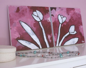 Romantic decorative pink tulips - set of two acrylic paintings