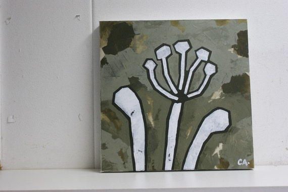 Painting of African lily in olive green colours on canvas - Agapanthus