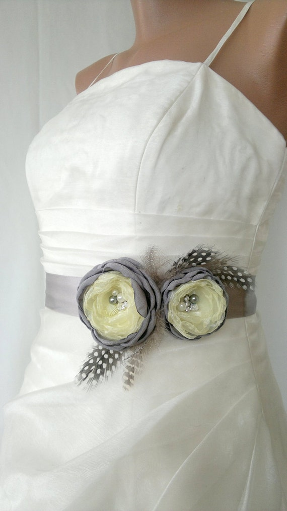 Handcraft Grey and yellow Two Flowers With Feathers Wedding Bridal Sash Belt