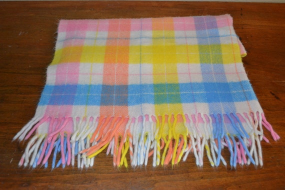 Vintage Baby Fringed Ends Blanket Pale Pinks Yellows an Blues an Cream