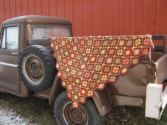 Vintage Granny Square Fringed  Afghan Handmade Lovely Fall Colors