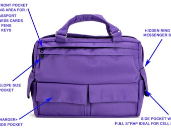 Messenger Bag, Briefcase,Padded laptop Bad, travel Bag- D.T in Purple