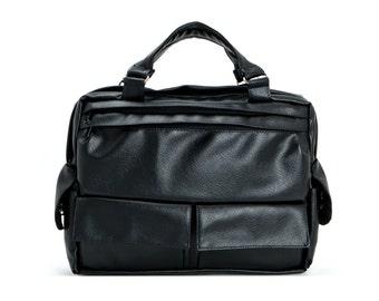 Padded Laptop Bag, Messenger Bag, Briefcase,Travel Bag - D.T, Black Faux Leather