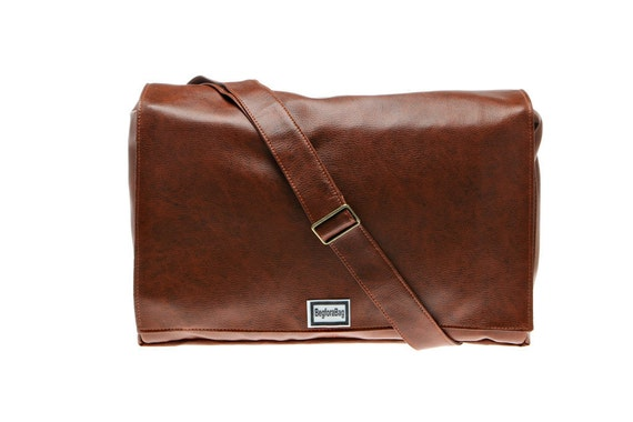 Chestnut Brown Vegan Laptop Messenger Bag Faux Leather
