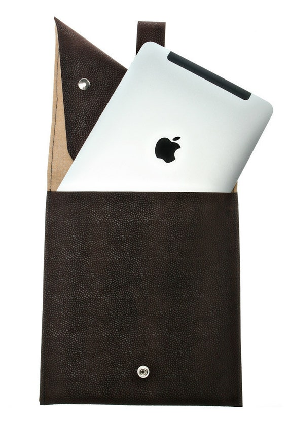 Brown Faux Leather, iPad Sleeve,Vegan iPad Bag Wristlet  - Eden ,Netbook Sleeve