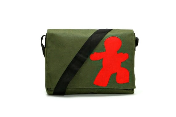 Messenger Bag,Student Bag,artistic,colorful Bag - Schmooze in Green and Red