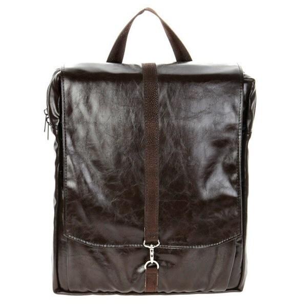 "Brown Faux Leather 15"" Laptop Backpack - Vegan Laptop Backpack - Roxanna Laptop Bag"