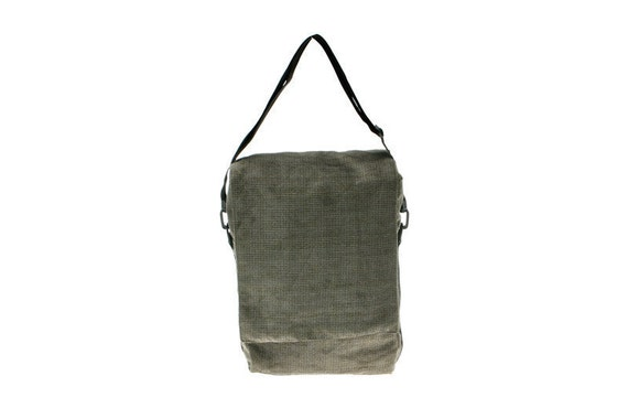 last one -Padded Laptop Bag, Backpack,messenger bag-NIko in,gray green, Cotton,coduroy