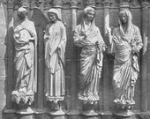 Reims Cathedral - Annunciation and Visitation - Figures on Facade- 1950s fine art reproduction - France - Gothic - 13th century AD