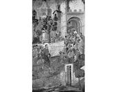 "Entrance Into Jerusalem (Back of ""Maesta"") - Duccio Di Buoninsegna - Cathedral Museum of Siena, Italy - 1950s fine art reproduction"