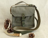 Rugged Vintage Military Green Canvas Haversack Field Gear
