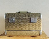 Classic Vintage Tweed Train Case With Chrome Corners