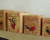 Vintage Wood Canister Set with Folky Roosters