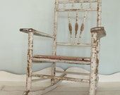 Antique Child's Chippy White Rocker